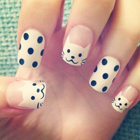 cute black and white nail art
