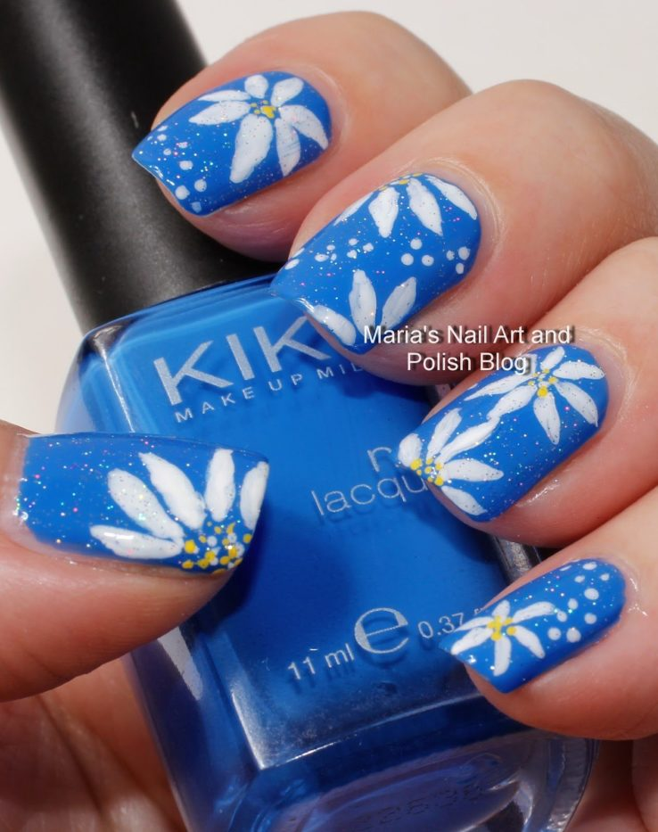 nail art on blue