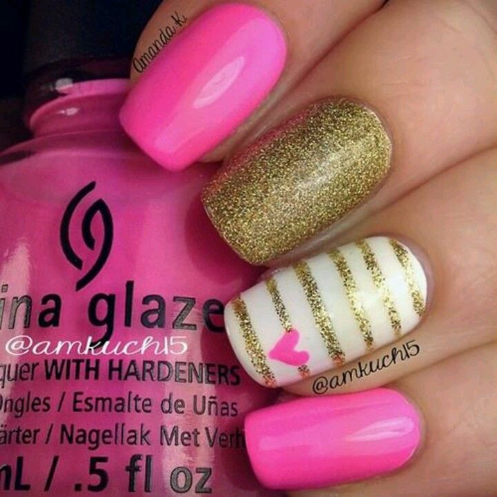 summer nails gold pink