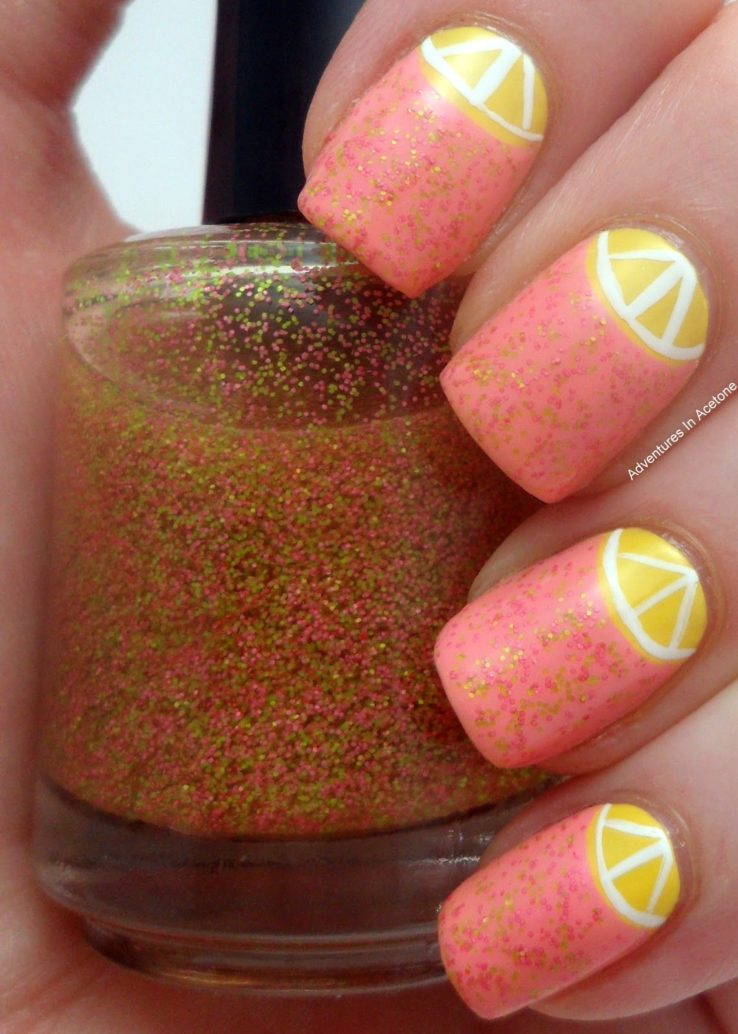 pink lemonade design nails